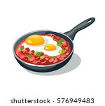 omelette pan scrambled eggs... | Shutterstock .eps vector #576949483