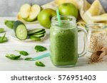 fresh green smoothie from fruit ... | Shutterstock . vector #576951403