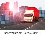 Small photo of Logistics global transportation concept. Maritime and land transport, air transport use for import export shipping industry