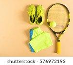 tennis stuff on cream... | Shutterstock . vector #576972193