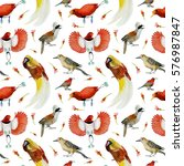 watercolor summer pattern with... | Shutterstock . vector #576987847