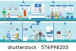 Stock vector vet clinic set interior medical care and treatment after pets and other animals 576998203