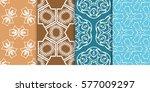 set of modern floral seamless...   Shutterstock .eps vector #577009297