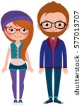 young couple boy and girl... | Shutterstock . vector #577013707