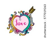 heart frame with love lettering.... | Shutterstock .eps vector #577019263