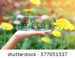 healthy lifestyle word on the...   Shutterstock . vector #577051537
