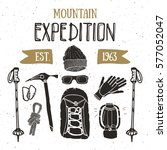 mountain expedition vintage set.... | Shutterstock .eps vector #577052047