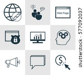 set of 9 marketing icons.... | Shutterstock . vector #577092037