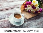 tulips and coffees isolated on... | Shutterstock . vector #577094413