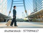 business man walking with... | Shutterstock . vector #577094617