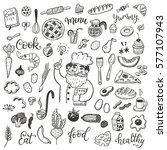 hand drawn doodle food set with ... | Shutterstock .eps vector #577107943