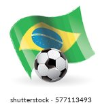 brazil flag waving football | Shutterstock .eps vector #577113493