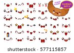 set of cute kawaii emoticon... | Shutterstock .eps vector #577115857