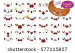 set of cute kawaii emoticon... | Shutterstock .eps vector #577115857