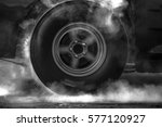 drag racing car burns rubber...   Shutterstock . vector #577120927