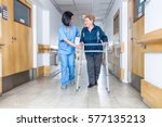 senior female patient being... | Shutterstock . vector #577135213