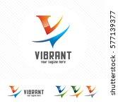 colorful letter v logo design... | Shutterstock .eps vector #577139377