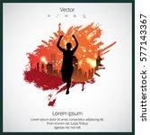silhouette of marathon runner | Shutterstock .eps vector #577143367