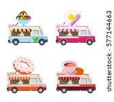 food truck vector flat... | Shutterstock .eps vector #577144663