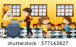 buying food from the cafeteria | Shutterstock .eps vector #577163827