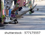 young skate boarders at street... | Shutterstock . vector #577175557