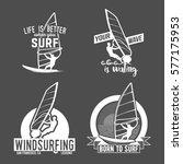 set of windsurfing badges and... | Shutterstock . vector #577175953