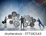 teamwork concept with... | Shutterstock . vector #577182163