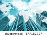double exposure global world...   Shutterstock . vector #577182727