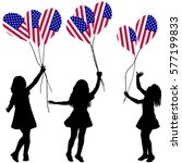 girls silhouettes with usa... | Shutterstock .eps vector #577199833