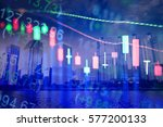 statistic graph of stock market ... | Shutterstock . vector #577200133