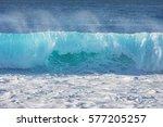 blue ocean shorebreak wave for... | Shutterstock . vector #577205257