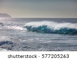 blue ocean shorebreak wave for... | Shutterstock . vector #577205263
