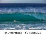 blue ocean shorebreak wave for... | Shutterstock . vector #577205323