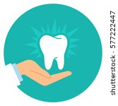 cartoon doctor hand and healthy ... | Shutterstock .eps vector #577222447