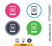 qr code sign icon. scan code in ... | Shutterstock . vector #577224007