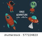 rocket  alien ufo and astronaut ... | Shutterstock .eps vector #577224823