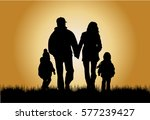 family silhouettes in nature. | Shutterstock .eps vector #577239427