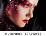 young attractive girl in bright ... | Shutterstock . vector #577240993