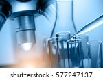 microscope with laboratory... | Shutterstock . vector #577247137