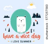 hedgehog print design for shirt.... | Shutterstock .eps vector #577257583