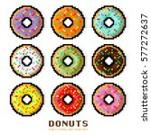Vector Donut Set. Colored...