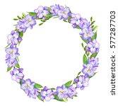 watercolor flower wreath. | Shutterstock . vector #577287703
