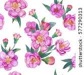 watercolor sakura seamless... | Shutterstock . vector #577290313