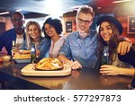 cheerful friendly people posing ... | Shutterstock . vector #577297873