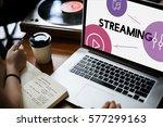 music streaming media... | Shutterstock . vector #577299163