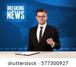 television presenter in front... | Shutterstock . vector #577300927
