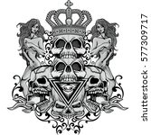 gothic coat of arms with skull... | Shutterstock .eps vector #577309717