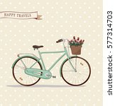 the hand drawn vector city bike ... | Shutterstock .eps vector #577314703