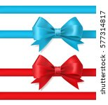 blue and red ribbon bow on... | Shutterstock .eps vector #577314817