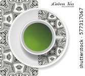 cup of green tea with black and ... | Shutterstock .eps vector #577317067
